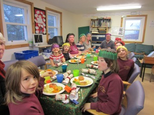 We all have a Christmas Lunch together in the learning centre. The nursery kids, Bean and Sheena come too.
