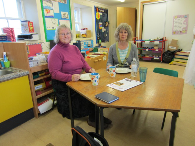 This is Mrs Ib and Mrs Hollands having their lunch. They are having their lunch in the nursery.