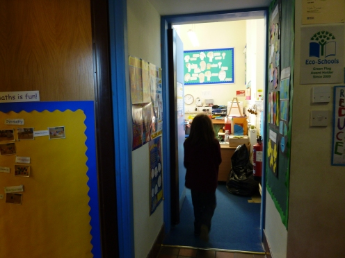 If you come through the door you have 3 options 1 class room straight-on 2 nursery to the left and right cloak room and bath rooms.